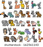 set of cute cartoon animals  | Shutterstock .eps vector #162561143