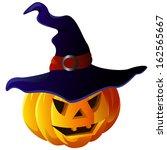 scary halloween pumpkin in... | Shutterstock .eps vector #162565667