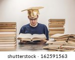 young student with graduation... | Shutterstock . vector #162591563