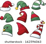 christmas hats clip art. vector ... | Shutterstock .eps vector #162596063