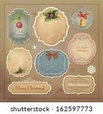 christmas vintage labels set.... | Shutterstock .eps vector #162597773