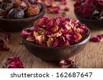 Stock photo dried rose petals for tea alternative medicine pot pourri copy space 162687647
