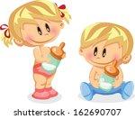 vector illustration of baby boy ... | Shutterstock .eps vector #162690707