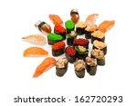 great sushi set on a white... | Shutterstock . vector #162720293