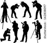 photographer silhouettes  ... | Shutterstock .eps vector #162838097