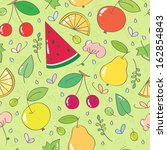 seamless pattern with fruits... | Shutterstock .eps vector #162854843