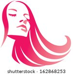 fashion girl with long red hair.... | Shutterstock .eps vector #162868253