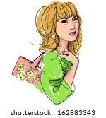 hand drawing of a pretty...   Shutterstock .eps vector #162883343