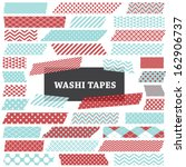 aqua blue and red washi tape... | Shutterstock .eps vector #162906737