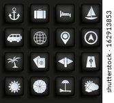 travel icons set on black...