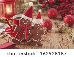 christmas gingerbread men and... | Shutterstock . vector #162928187