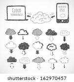cloud computing sketch. icons... | Shutterstock .eps vector #162970457