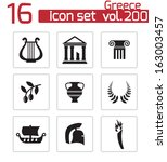 vector black greece icons set | Shutterstock .eps vector #163003457