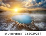 incredibly blue pool blahver at ...   Shutterstock . vector #163029257