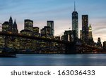 new york city brooklyn bridge... | Shutterstock . vector #163036433