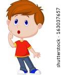 Cute Boy Cartoon Thinking