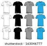 pocket tshirt template | Shutterstock .eps vector #163046777