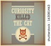 retro poster with cat. vector... | Shutterstock .eps vector #163081463