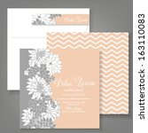 wedding invitation card with... | Shutterstock .eps vector #163110083