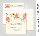 Wedding invitation card with abstract floral background.