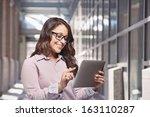 happy hispanic young woman... | Shutterstock . vector #163110287