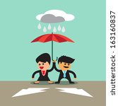 Business man woman under umbrella walking to two arrow a vector concept
