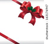red satin bow with mistletoe... | Shutterstock .eps vector #163176947