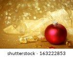 golden christmas background... | Shutterstock . vector #163222853