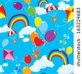 seamless pattern with rainbows  ... | Shutterstock .eps vector #163224683