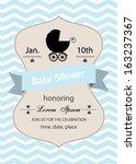 baby shower invitation card... | Shutterstock .eps vector #163237367