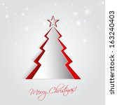 christmas card with 3d tree ... | Shutterstock .eps vector #163240403