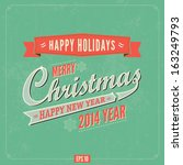 vintage vector christmas and... | Shutterstock .eps vector #163249793