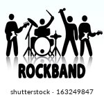Vector illustration of a rock band, bassist, drummer, vocalist and guitar player icon style