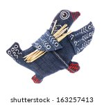Small photo of Handmade decoration - Denim goose (This goose carries brushwood for its aerie under the wing), The toy is made from natural fabric and hand-painted Ukrainian artists.
