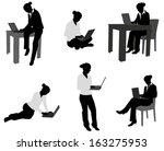 woman working on her notebook... | Shutterstock .eps vector #163275953