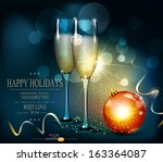 vector romantic christmas... | Shutterstock .eps vector #163364087