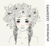 pretty girl | Shutterstock .eps vector #163369493