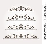 set of four calligraphic floral ... | Shutterstock .eps vector #163401653