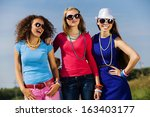 attractive young women having... | Shutterstock . vector #163403177