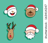 christmas happy characters | Shutterstock .eps vector #163414247
