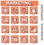 flat marketing icons orange... | Shutterstock .eps vector #163416263