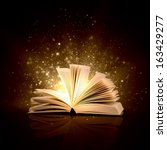 image of opened magic book with ... | Shutterstock . vector #163429277