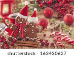 christmas gingerbread man and... | Shutterstock . vector #163430627