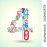 number 4   from rainbow colored ... | Shutterstock .eps vector #163441973