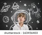 child who dreams of being in... | Shutterstock . vector #163456403