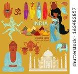 india  landmarks  symbols and...   Shutterstock .eps vector #163482857