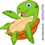 cute sea turtle cartoon   Shutterstock . vector #163516703
