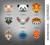 set of animals in the style of... | Shutterstock .eps vector #163538663