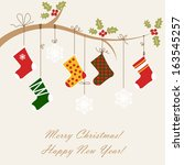 christmas card with christmas... | Shutterstock .eps vector #163545257