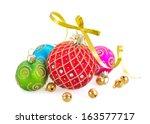 three christmas balls isolated... | Shutterstock . vector #163577717